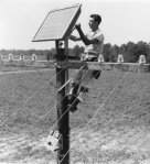 Installation of first solar panel, on rural Georgia phone pole, Oct. 4, 1955.